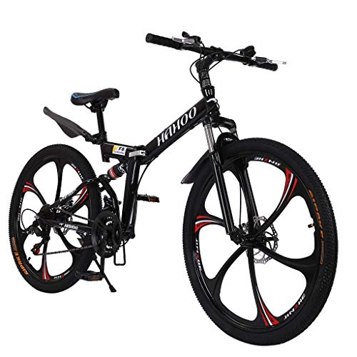 Mountain Bike with 21 Speed 26 Inches Full Suspension Non-Slip Light Hard Tail Mountain Bike (Black)