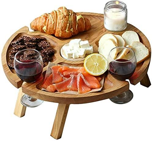 yuica Mesa de picnic plegable de madera con soporte de vidrio, mesa redonda plegable 2 en 1 para copas de vino al aire libre, jardín, camping, viajes