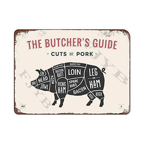 Mora color The Butcher's Guide Series cuts of Pig Creative Posters tin Sign Metal Cafe bar Home Wall Art Decoration Poster Retro 8x12 inches
