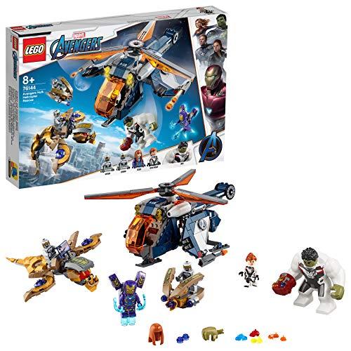 LEGO Super Heroes - Vengadores Rescate en Helicóptero de Hulk, Set de Construcción de Endgame, Incluye Minifiguras de Juguete de La Viuda Negra y Pepper Potts Entre Otros (76144)