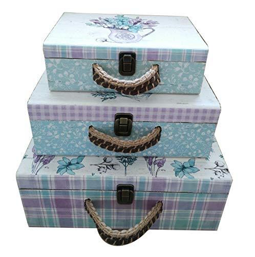 All Chic - Juego de 3 cajas de almacenamiento para maletas, diseño floral de madera, color blanco
