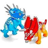2 Large Jurassic Dinosaur World Toys for Kids 5-7 Boys & Girls - Dinosaur Building Blocks - Triceratops Family - Pentaceratops & Styracosaurus - with Storage Bag and Sticker Sheets!