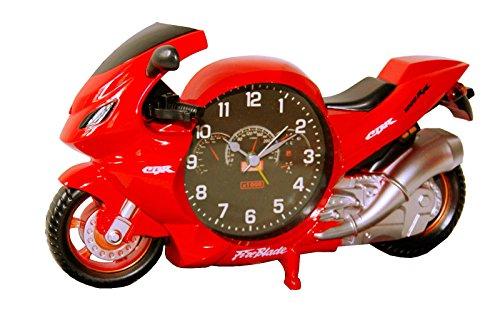 Unbekannt Modellnummer: PF6006A Motorrad Bike Biker Uhr Wecker Motorraduhr Motorradwecker Quarzuhr Quarzlaufwerk Blau Oder Rot Neu (Rot)