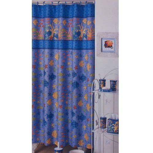 Blue Decorative Fish Shower Curtain