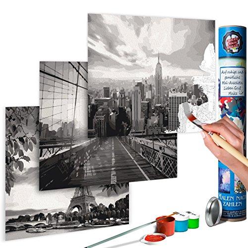 murando Pintura por Números Ciudad - New York & Paris 170x40 cm 3 Motivos Cuadros de Colorear por Números Kit para Pintar DIY Bricolaje Adultos Ni?os Caja-Regalo de Diseno n-A-0585-ab-e