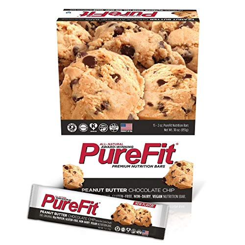 PureFit Premium Nutrition Protein Bars, 15 Count | 18G Protein, Performance Enhancement & Energy Bar - Gluten Free, Dairy Free, Vegan - Peanut Butter Chocolate Chip