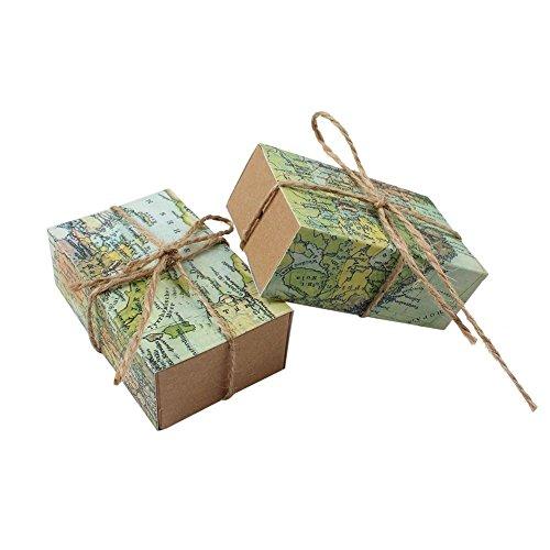 Kingsley – 50 bomboneras vintage con mapamundi, de papel de estraza, ideales para peladillas, con cuerda de cáñamo