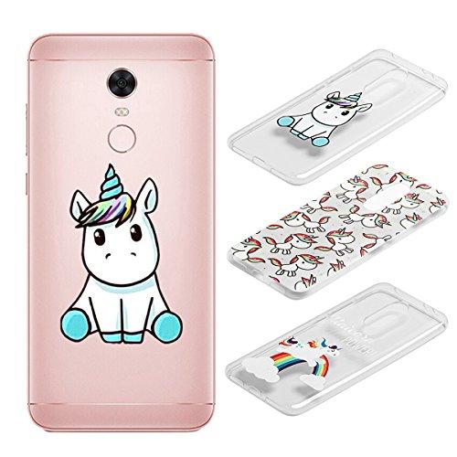 Electro-Weideworld [3 Pack] Cover Xiaomi Redmi 5 Plus, 3D Creativa Cover TPU Gel Silicone Bumper Protettivo Custodia Case Cover per Xiaomi Redmi 5 Plus, Unicorno