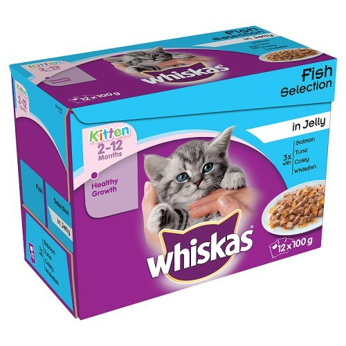 Whiskas Kitten Cat Food Fish Selection in Jelly, 12 x 100g