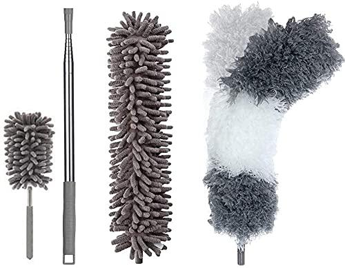 Cepillo de microfibra para polvo con barra telescópica, 2 cabezales flexibles y 1 mini cepillo para quitar el polvo, resistente a los arañazos, lavable, desmontable y extensible colector de polvo