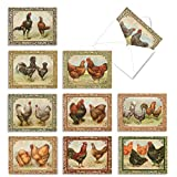 10 Rooster Themed Note Cards with Envelopes 4 x 5.12 inch, Assorted 'Card-A-Doodle-Doo' Blank Greeting Cards, All-Occasion Stationery Set for Baby Showers, Weddings, Holidays M2351OCB
