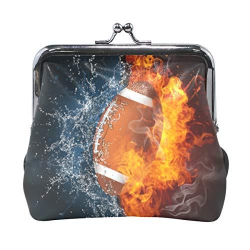 LUPINZ Geldbörse mit Schnalle, American Football im Feuer und Wasser, Kiss-Verschluss