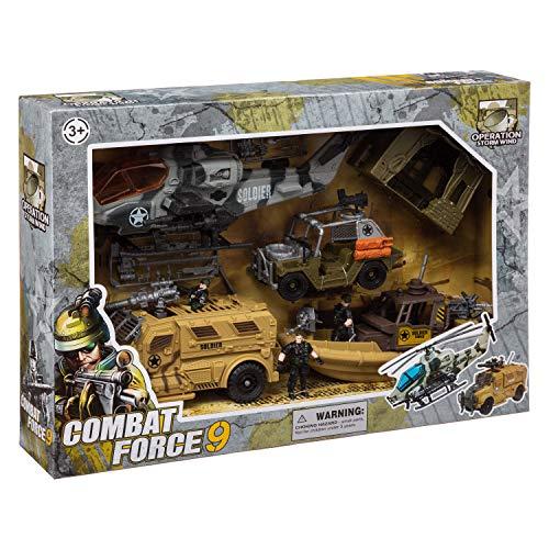 WEB2O Caja de Combate Militar XXL con helicóptero, Barco, Camiones, Carpa y Herramientas de Guerra
