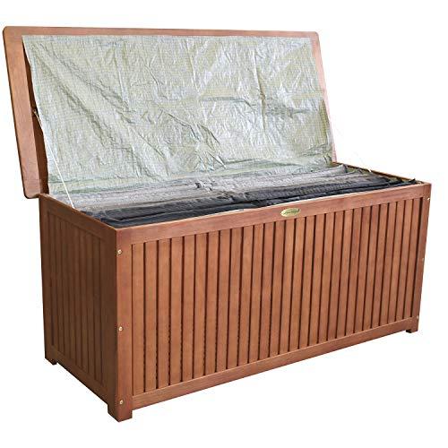 Wohaga® Gartenbox 133x58x55cm inkl. Innenplane Auflagenbox Kissenbox Gartentruhe Holztruhe Hartholz Eukalyptus Auflagentruhe - 2