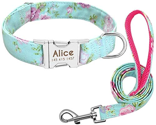 Personalisierte Hundehalsband Leine Nylon Drucken Kleine Halsbänder Small Medium Blei Großer Fressnapf Pitbull Shepherd Welpen kshu ZZAY