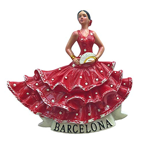 3D Flamenco bailarín Barcelona España Refrigerador Imán Viaje Sticker Recuerdos, Resina Hogar...