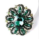LifeJewelrySea Broche De Piedras Preciosas De Diamantes Artificiales con Incrustaciones De Estilo Europeo Verde