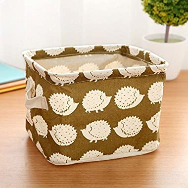 CALISTOUS 1PC Stationery Handicraft Storage Basket Linen Desk Storage Box Hedgehog