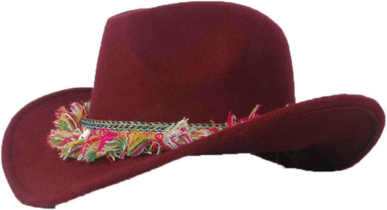 9ed5fe3fcb85e ASO-SLING Faux Felt Wide Brim Brim Brim Western Cowboy Hat Wool Outback  Cattlemen Hat with Braided Belt 21b96f