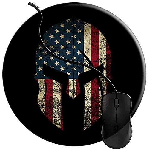 Mouse Pad for Computers,Gaming Mouse-Pads Office for Laptop Mouse Mat for PC Non Slip Mice Pad Spartan Helmet American Flag 2T1145