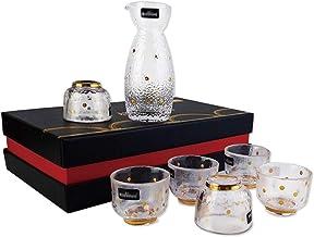 FACAIA 7-częściowy zestaw kieliszków do wina Sake, ręcznie wykonany kunszt, złote pociągnięcie, bardzo nadaje się na prezenty