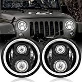 7 Inch LED Halo Headlights with Turn Signal Amber White DRL Compatible with 1997-2017 Jeep Wrangler JK JKU Headlamp H6024 Replacement-1 Pair Black