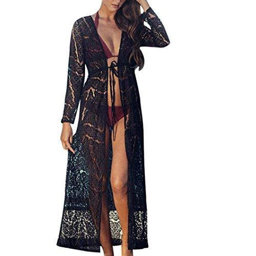 Bikini Cubrir Mujer, ❤️ Amlaiworld Vestido Mujer Sexy Verano Mujeres Crochet Boho Bikini Maxi Cover Up Cárdigan Kimono de Encaje de Playa Trajes de Baño Cubrir Mujer (Negro, M)