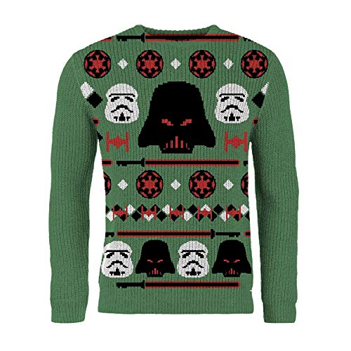 London Co. Star Wars Darth Vader Green Unisex Christmas Knitted Jumper Large