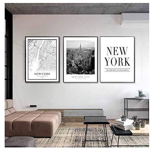 Amerikaanse Art New York City, kaart canvas, schilderijen, gebouwen, foto, muurkunst, afbeeldingen, posters en drukken, 40 x 60 cm x 3 frameloos