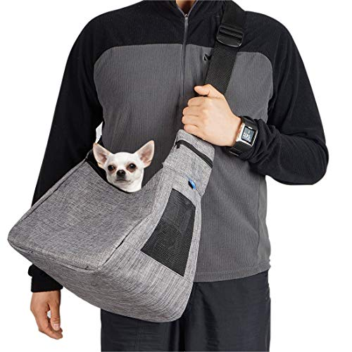 COOLBEBE Adjustable Pet Dog Sling Carrier for Small Dogs Cat up to 10lbs, Hands-Free Pet Puppy Travel Bag - Lightweight and Machine Washable