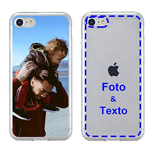 MXCUSTOM Funda Personalizada para Apple iPhone SE 2020/7 /8, Carcasa Personalizado Teléfono móvil Transparente con Foto Imagen Texto Diseña [Parachoques Blando+Panel Posterior Dura] (CHT-CR-P1)