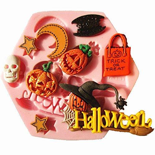 Siliconenmal voor halloween - pompoen - heks - vleermuis - schedel - sterren - suikerpasta - fondant - cake - pannenkoek - muffin