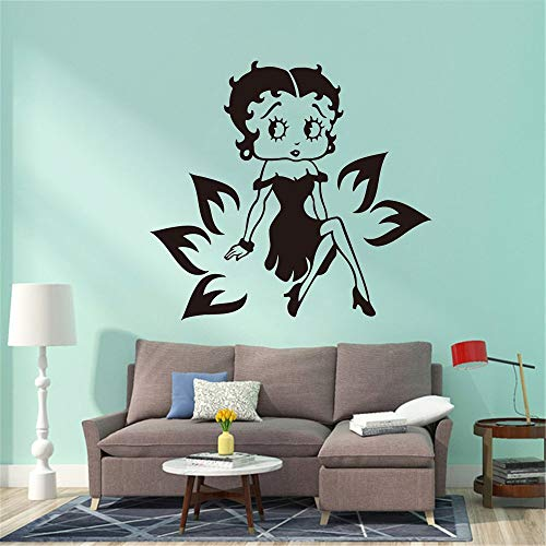 jtxqe Doll Woman Flower Wall Car Laptop Doll Wall Quote Art Sticker Self-Adhesive Wall Stickers Used For Kids Girls Bedroom Decoration 56Cm X 61Cm