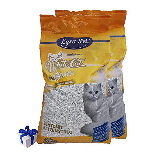 White Cat 2 x 15 L Katzenstreu mit Babypuder Duft Klumpstreu staubarm + Geschenk
