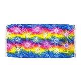 ManuMar Damen Sarong | Pareo Strandtuch | Leichtes Wickeltuch mit Fransen-Quasten (L: 115 x 225 cm, Pink Gelb Blau)