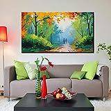 ganlanshu Pittura Senza Cornice Pittura a Olio Autunno Scenario romantico a piedi Strada forestale soggiorno decorazione Della casa30X48cm