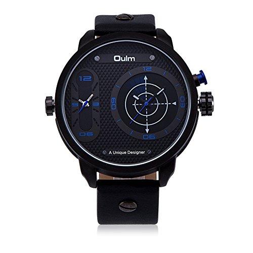 iLove EU Herren Armbanduhr Japanisches Quarz Analog Radar Dual-Bewegung Doppel Zeitzonen Leder Armband Uhr mit Blau Uhrzeiger