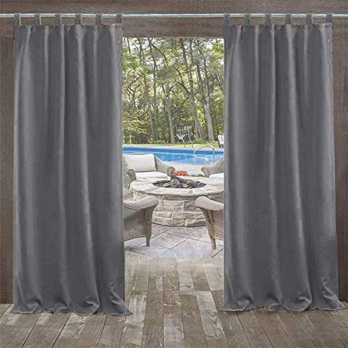 seveni Outdoor Curtains for Gazebo with Loops, Mildew Resistan Pergola Curtains, Perfect for Garden Patio Balloon of Pavilion Beach House, 1 Piece, 132x215cm, Carbon Grey
