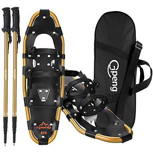 Gpeng 3-in-1 Xtreme Lightweight Terrain Snowshoes for Men Women Youth Kids, Light Weight Aluminum Alloy Terrain Snow Shoes with Trekking Poles and...