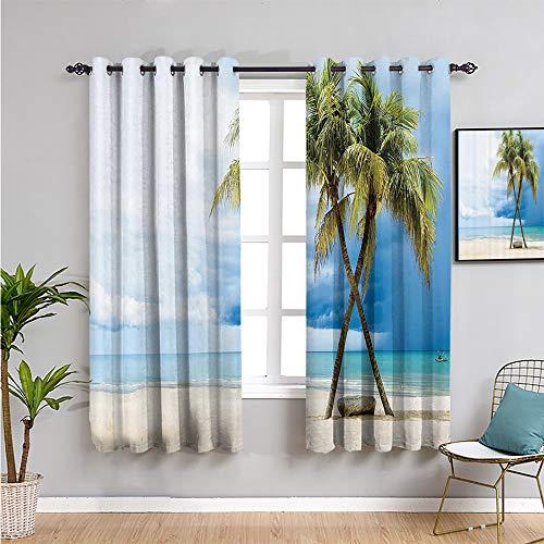 Cortinas hawaianas decorativas para sala de estar, 2 paneles, cortinas de 45 pulgadas de largo, fáciles de limpiar, verde y azul