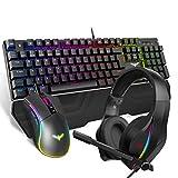 havit [3 en 1] Juego combinado de auriculares con teclado mecánico con cable, interruptor azul, teclado RGB 105 teclas, diseño de Reino Unido, ratón para juegos y auriculares RGB para juegos