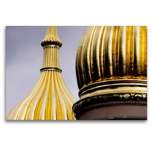Premium - Lienzo de pared (120 x 80 cm, horizontal, diseño de la iglesia rusa de Wiesbaden, sobre bastidor, lienzo auténtico, impresión sobre lienzo, torre de cebolla, calvido Orte);CALVENDO Orte
