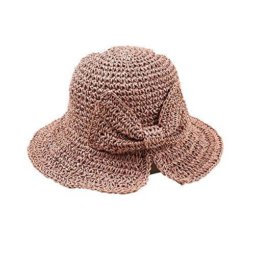 DOLDOA Hut Damen Sommer,Stroh Sommer Hüte Frauen Damenmode Faltbare Strand Sonnenhut Krempe (Rot)
