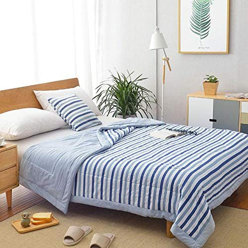 Zyf Summer Washed Cotton Air-conditioning Quilt Soft Breathable Blanket Thin Stripe Plaid Comforter Bed Cover-150X200CM_Blue
