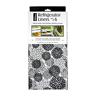 DII Non Adhesive Cut to Fit Machine Washable Fridge Liner For Drawers, Bins, Trays, Protect Produce, Set of 6, 12 x 24 - Black Dahlia