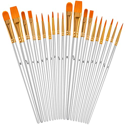 White Acrylic Paint Brushes Set, 20Pcs Round Pointed Tip Artist Paintbrushes for Acrylic Painting Oil Watercolor Canvas Boards Body Face Rock Easter Eggs, Adult Kids Drawing Arts Crafts