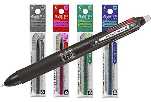 Piloto 2268001 + Mina Four Color Frixion Ball Pen, punta de 0.5mm, Eco-Bundle, Negro