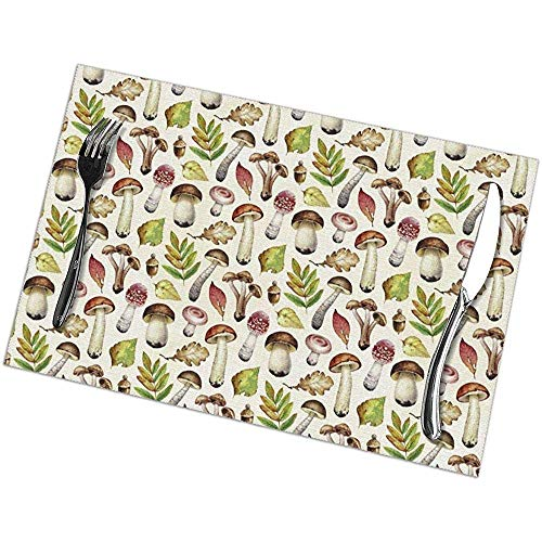 GuyIvan Forest Fungi and Leaves Placemats Mantel Individual Alfombrillas Antideslizantes Juego de 6