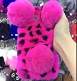 Lovely Warm Handmade Fur Panda Furry Luxury Bling Crystal Rhinestone Soft Beaver Rex Pom-pom Case for ZTE Prestige N9132/ Avid Plus Z828/ Maven 2 Z831/ Sonata 3 Z832/ Avid Trio(Rose)
