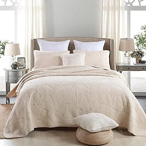 Tagesdecke Baumwolle 220 x 240 cm Bettüberwurf Patchwork Tagesdecke Gesteppt Bettwäsche 3-TLG Beige Palmblätter Einfacher Nordischer Stil